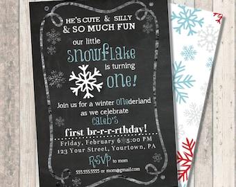 """Winter snowflake First Birthday Invitation - Winter Wonderland """"One""""derland - Snowflake Print Back"""