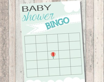 Baby Showe Bingo- Dream Big Baby Shower- Hot Air Balloon
