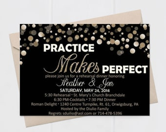 Rehearsal Dinner Invitation: Practice Makes Perfect gold black