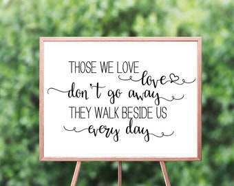 Those we love walk beside us - Memorial Sign - Wedding in loving memory Sign - Decease relatives Sign – Wedding Reception Décor