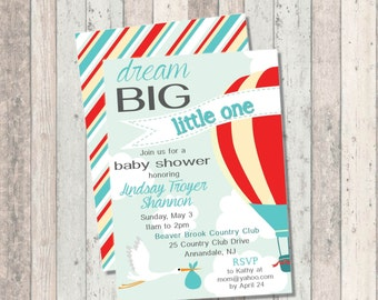 Dream Big Baby Shower Invitation- Hot Air Balloon - Stork  - Optional Striped Print Back