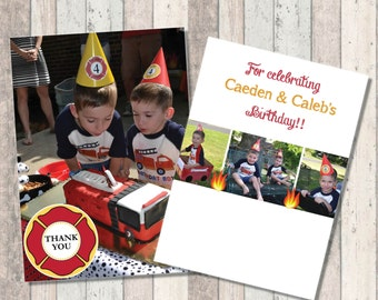 Firetruck Birthday Photo Thank you
