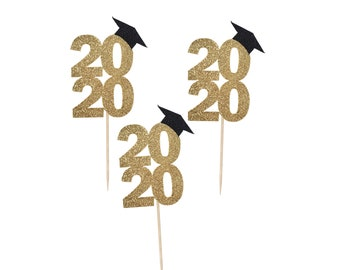 Graduation Cupcake Toppers, Class of 2020, Glitter Cardstock, For Graduation Party, One Dozen