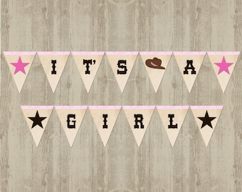 Cowgirl Baby Shower Banner: It's A Girl