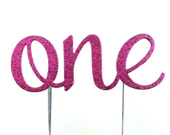 Cake Topper, birthday cake toppers, First Birthday cake topper, Smash Cake, Hot Pink cake topper, one cake topper, birthday cake decorations