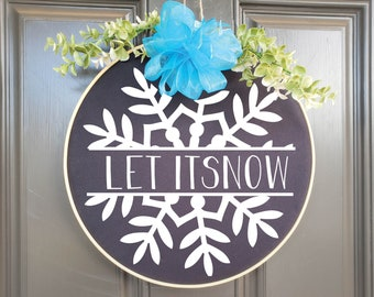 Swap-It Door Decor Insert - Let it Snow with Snowflake