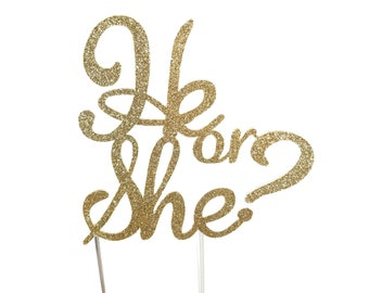 Cake Topper, He or She, Boy or Girl, Gender Reveal, Baby Shower Decoration, Shower Toppers, Surprise, Cake Decorations, gold glitter