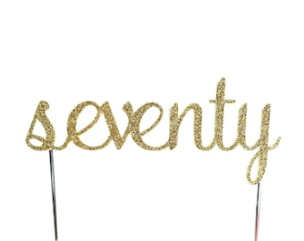 Cake Topper, birthday cake toppers, 70th seventieth cake topper, Gold cake topper, seventy cake topper, cake decorations