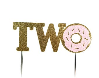 Cake Topper, birthday cake toppers, Second Birthday cake topper, Donut Cake, Gold cake topper, one cake topper, birthday cake decorations