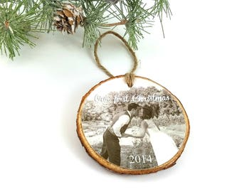 Photo Christmas Ornament – Photo Holiday Ornament – Our First Christmas - Photo Wedding Keepsake Ornament - Personalized Keepsake Gift