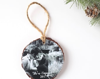 Photo Christmas Ornament – Photo Holiday Ornament – Our First Christmas Engaged - Photo Keepsake Ornament - Personalized Keepsake Gift