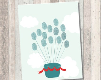 Thumbprint Guest Book Art - Dream Big Baby Shower- Hot Air Balloon