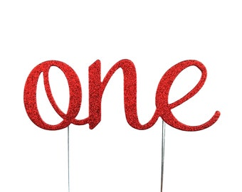 Red One Cake Topper, birthday cake toppers, First Birthday cake topper, Smash Cake, one cake topper, birthday cake decorations