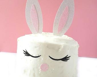 Bunny Cake Topper, Easter Cake Topper, Animal Cake Topper, Easter Cake Topper, Glitter Cardstock