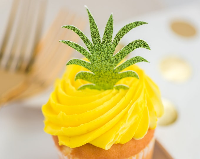 Featured listing image: Pineapple Green Cupcake Topper – Pineapple Theme Party – Two fruit-ti Birthday Party – Pineapple Birthday Décor – Pineapple Party Decor