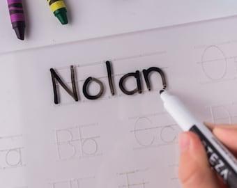 Personalized Name Tracing Sheet, Preschooler Handwriting Practice, Alphabet Handwriting Practice Dry Erase Board