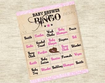 Cowgirl Baby Shower Game: Bingo