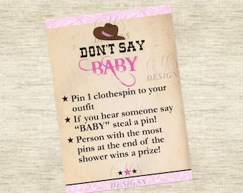 Baby Shower Game: Don't Say Baby Sign