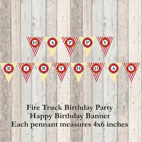 Firetruck Birthday Party Happy Birthday Banner - Decorations