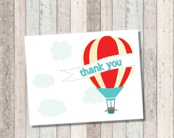 Dream Big Baby Shower Thank you Card- Hot Air Balloon