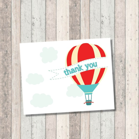 Dream Big Baby Shower Thank you Card- Hot Air Balloon