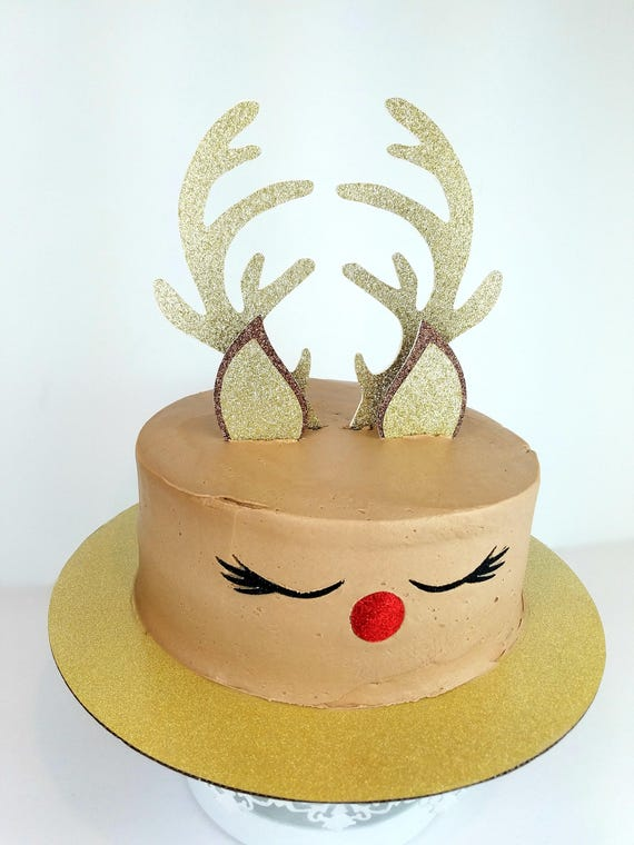 Christmas Cake Decorations.Reindeer Cake Topper Christmas Cake Toppers Holiday Cake Topper Rudolf Gold Cake Topper Christmas Cake Decorations