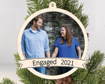 Photo Christmas Ornament, Photo Holiday Ornament, Our First Christmas Engaged, Photo Keepsake Ornament, Personalized Keepsake Gift
