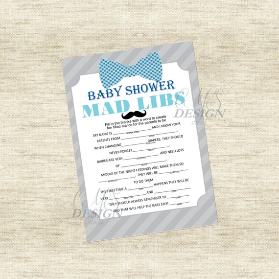 Little Man Baby Shower Game: Mad Libs