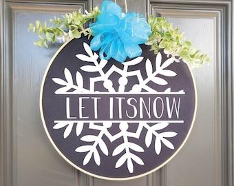 Swap-It Door Decor Insert - Let it Snow with Snowflake