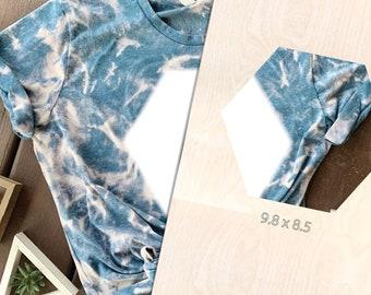 Bleach Tie Dye Template, hexagon, Acrylic Shirt Template, Reusable Template, T-Shirt Square, Bleach Template, Tie Dye Sublimation Template