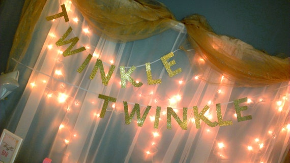 Twinkle Twinkle Baby Shower Custom Cut Adjustable Banner, Birthday Party Decorations, Baby Shower Decorations, Twinkle Twinkle Little Star