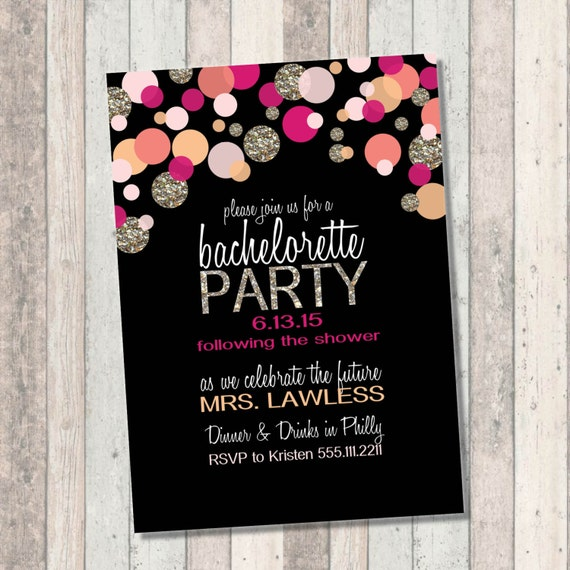 Bachelorette Party Invitation - Pink Coral and gold