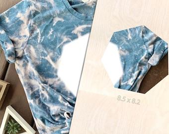 Bleach Tie Dye Template, Heptagon, Acrylic Shirt Template, Reusable Template, T-Shirt Square, Bleach Template, Tie Dye Sublimation Template
