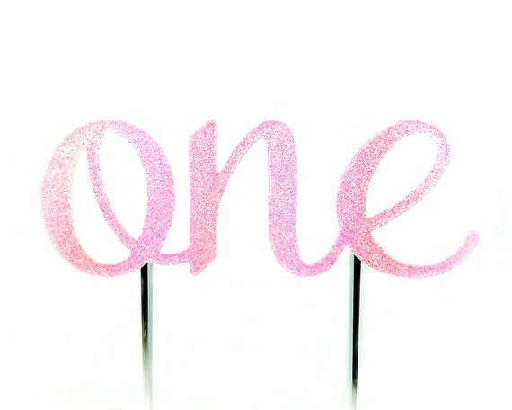 Light Pink One Cake Topper, birthday cake toppers, First Birthday cake topper, Smash Cake, one cake topper, birthday cake decorations