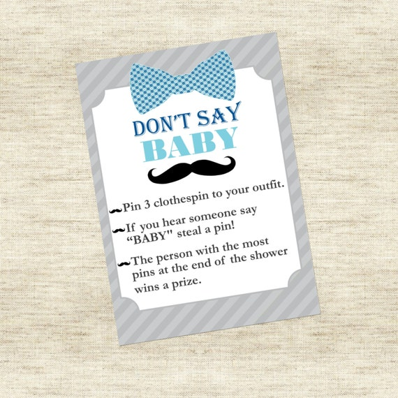 Little Man Baby Shower Game: Don't Say Baby - Bowtie - Mustache