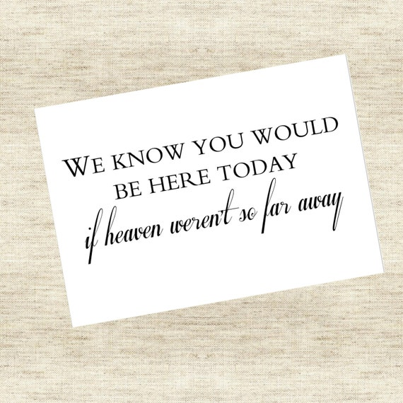 """Im Memory Sign- """"We know you would be here today, if heaven weren't so far away"""""""