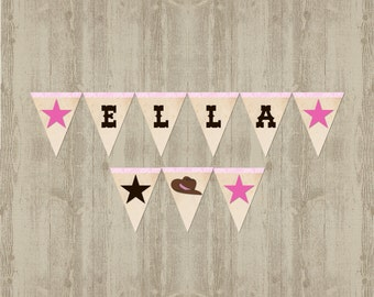 Cowgirl Baby Shower Name Banner