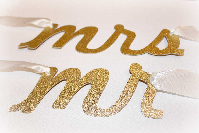 Mr. & Mrs. Wedding Chair Banner, Gold Glitter, Chair