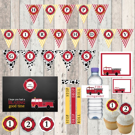 Firetruck Birthday Party Kit/ Package - Decorations