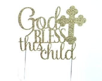 Baptism Cake Topper, Gold Glitter, Christening Cake Topper, Religious Cake Topper, For Child's Baptism