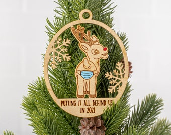 2021 Ornament, Mask Ornament, White Elephant, Secret Santa Gift, Ornament Exchange