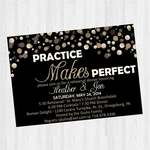 Rehearsal Dinner Invitation: Practice Makes Perfect gold black
