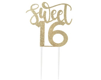Sweet 16 Cake Topper, for 16th Birthday