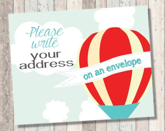 Dream Big Baby Shower- Hot Air Balloon - write your address on an envelope print