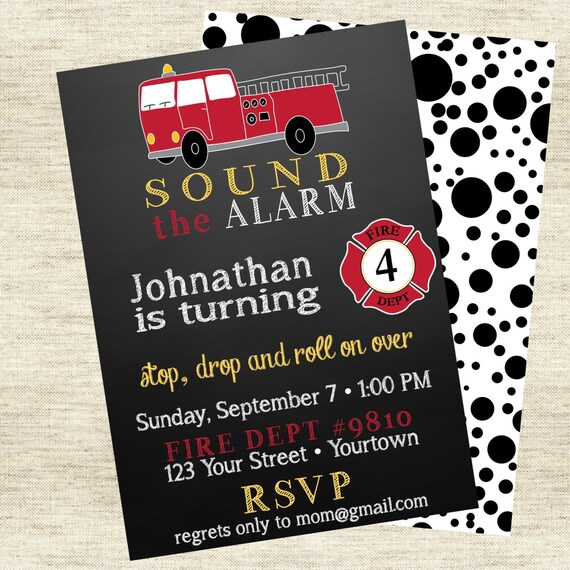 Firetruck Birthday Invitation - Dalmation Print Back