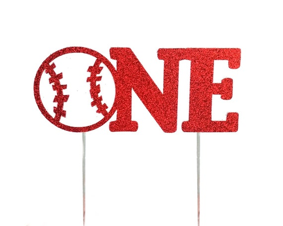 Baseball One Red Cake Topper, First birthday cake toppers, Birthday Decorations, Sports Themed, Play Ball