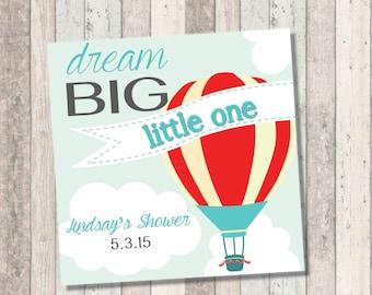 Dream Big Baby Shower Invitation- Hot Air Balloon - Favor Tags