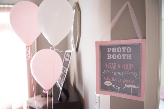 Photo Booth Sign - Grab a Prop Strike a Pose - Grey Chalkboard