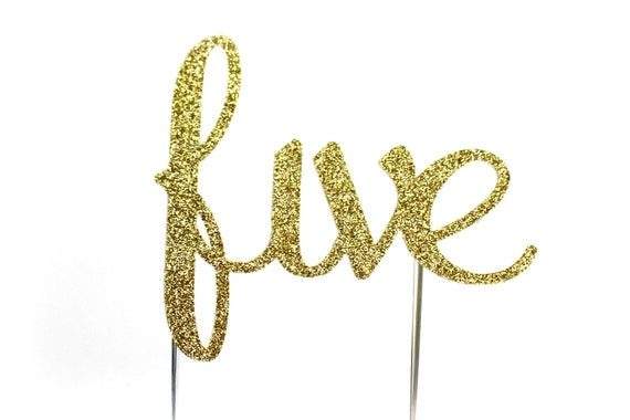 Cake Topper, birthday cake toppers, 5th Fifth Birthday cake topper, Gold cake topper, five cake topper, birthday cake decorations