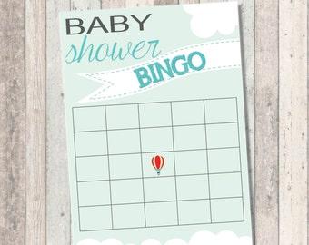 Baby Showe Bingo- Dream Big Baby Shower- Hot Air Balloon